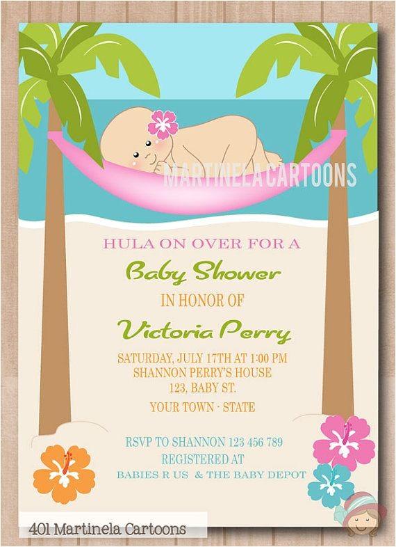 Luau themed Baby Shower Invitations Beach theme Baby Shower Invitations