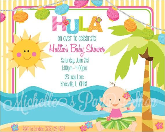 Luau themed Baby Shower Invitations Luau Baby Shower Invitations