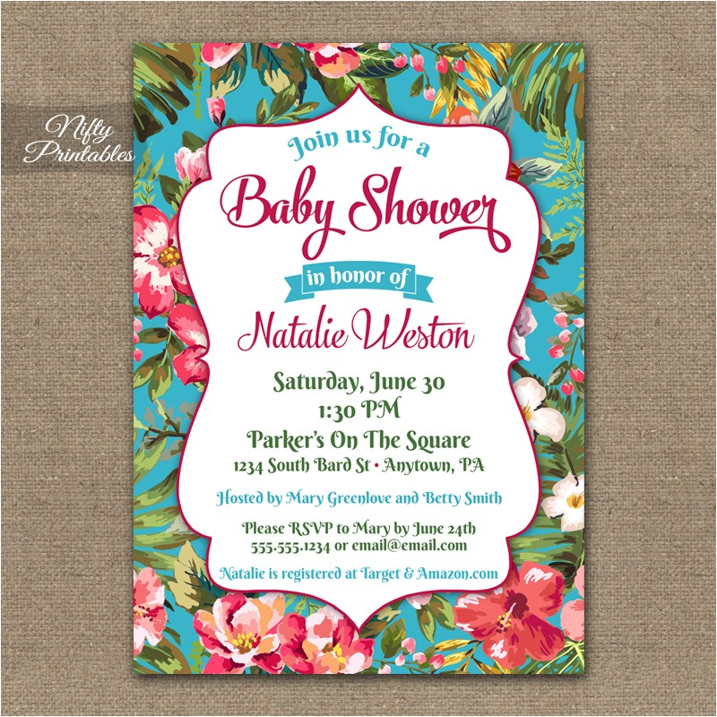 tropical hawaiian baby shower invitations