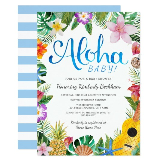 watercolor luau baby shower invite blue