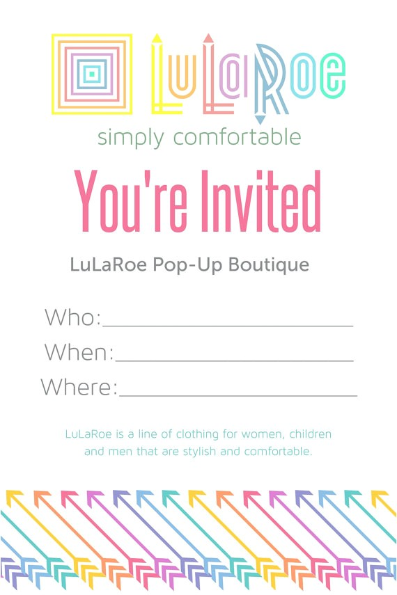 Lularoe Pop Up Party Invite Lularoe Pop Up Invitations by Dsgraphicscreations On Etsy
