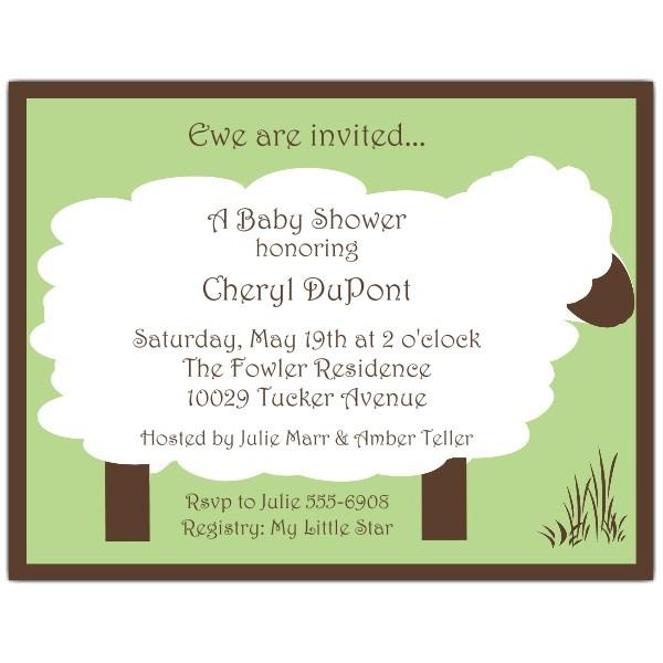 Lullaby Lamb Green Baby Shower Invitations p 606 54 BAA