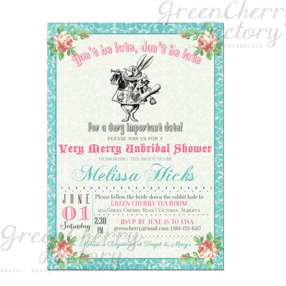 bridal shower invitation mad hatter tea