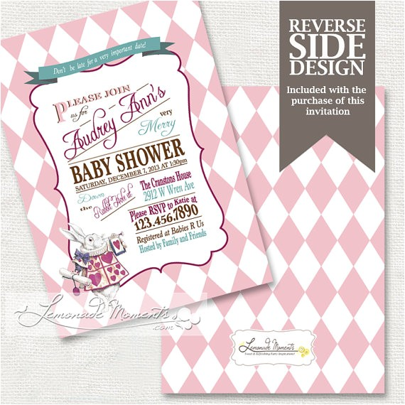 alice in wonderland baby shower invitation mad hatter tea party printable invitation pink