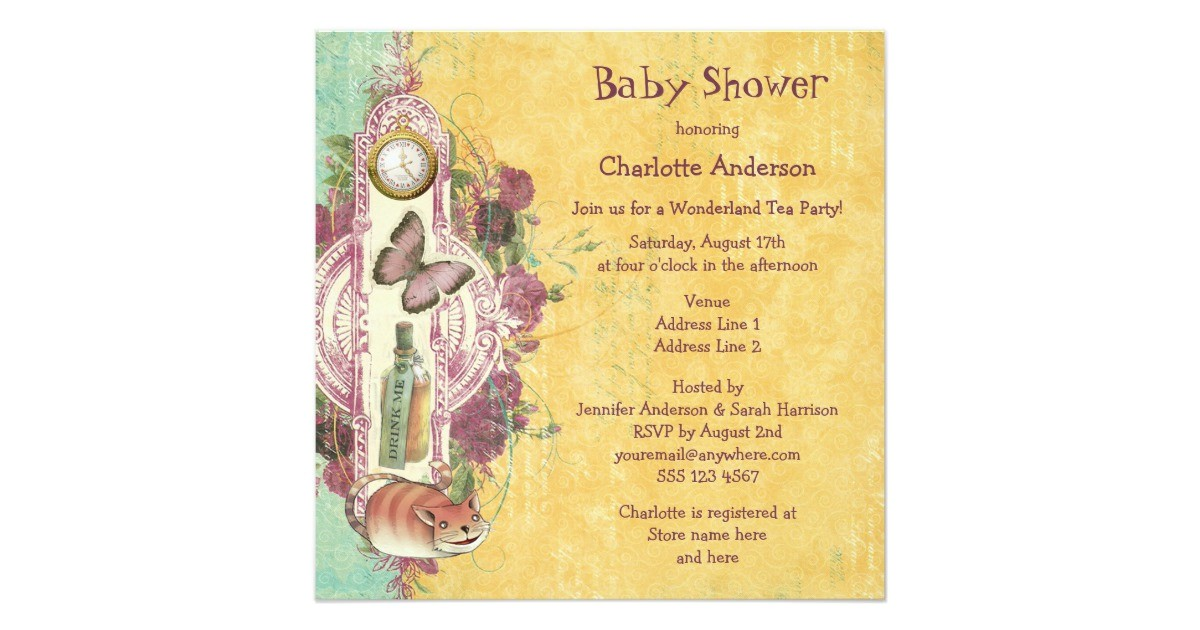 mad hatters wonderland tea party baby shower invitation