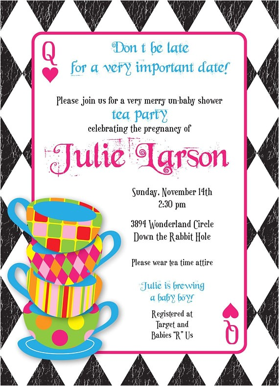 Mad Hatter Tea Party Baby Shower Invites Mad Hatter Tea Party Custom Baby Shower by Kimnelsoncreative