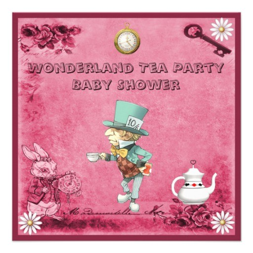 pink mad hatter wonderland tea party baby shower invitation