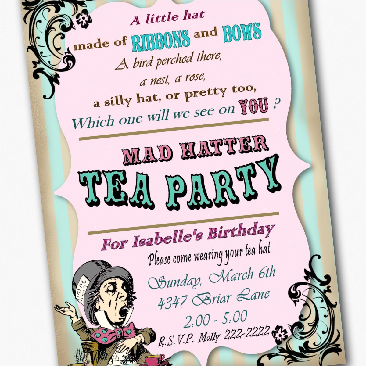 mad hatter invitation birthday tea party