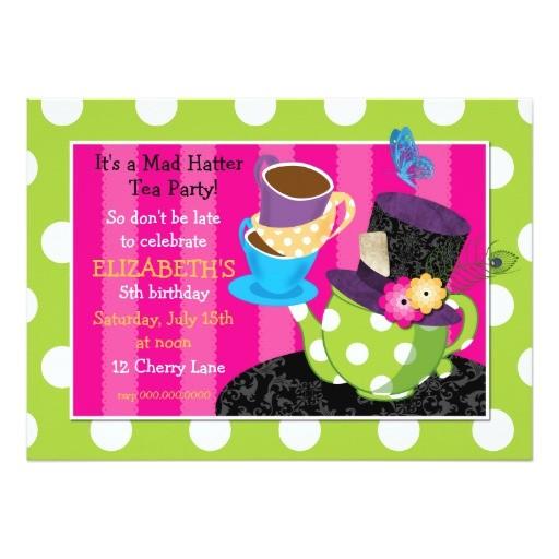 mad hatter tea party birthday invitation
