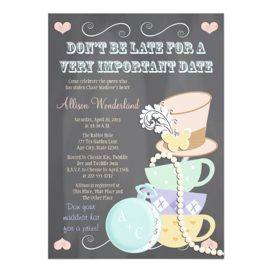 Mad Hatter Tea Party Bridal Shower Invitations Mad Hatter Bridal Shower Invitations
