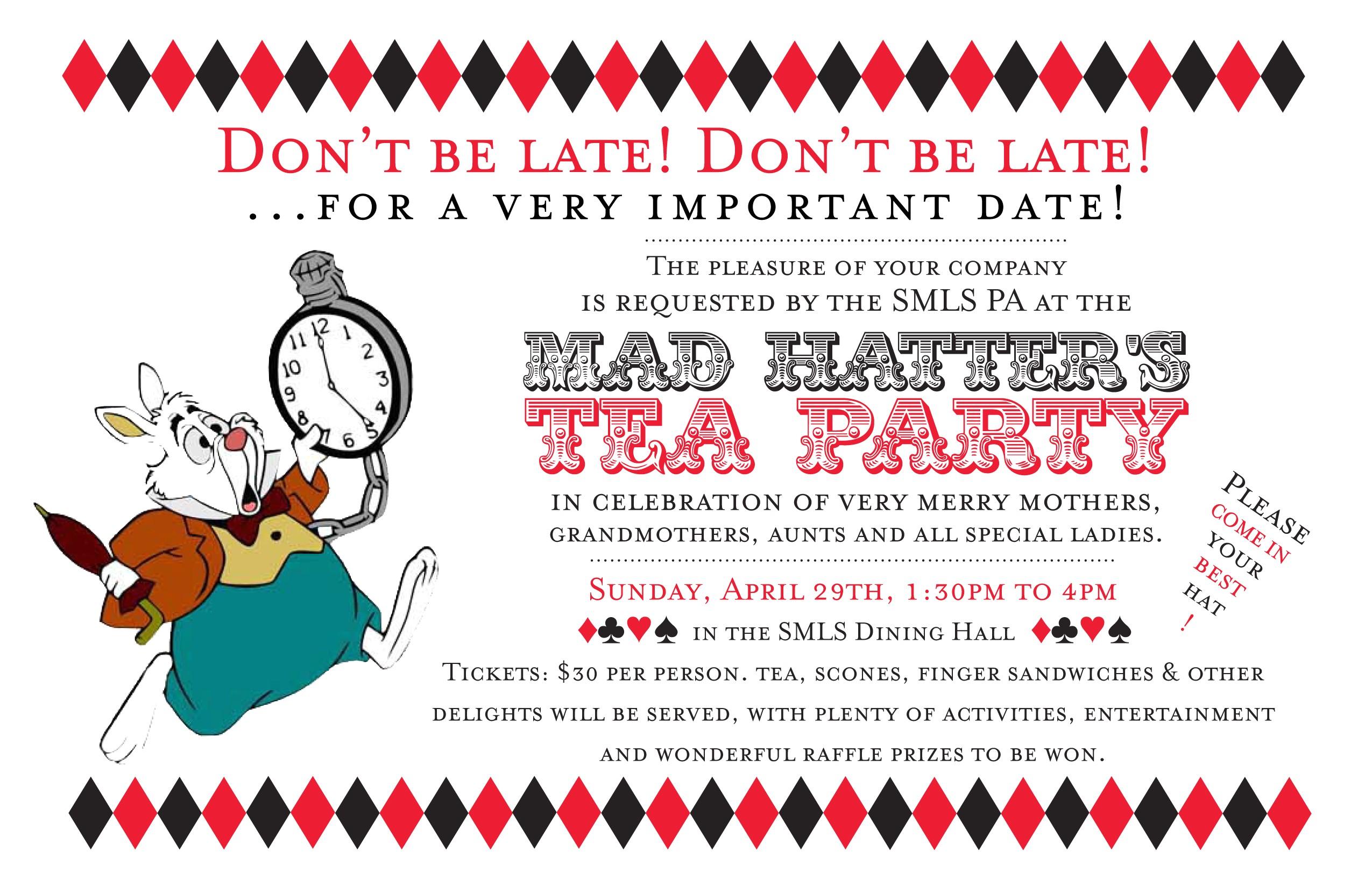 Mad Hatter Tea Party Invitation Wording Mad Hatter Tea Party Invitations