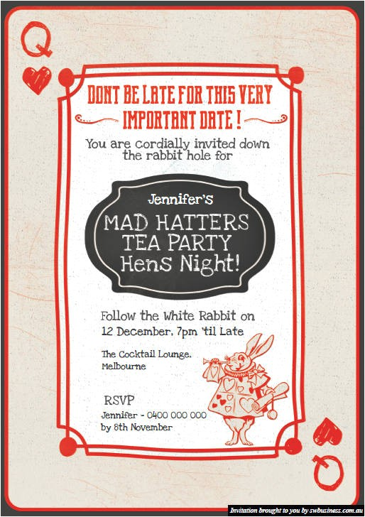 mad hatters tea party hens invites