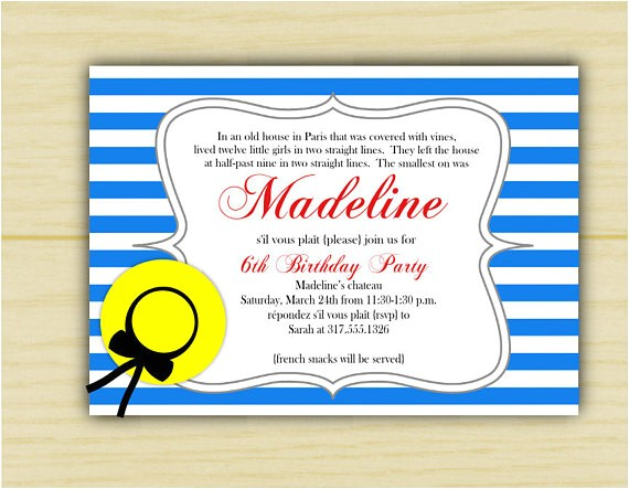 madeline birthday invitation