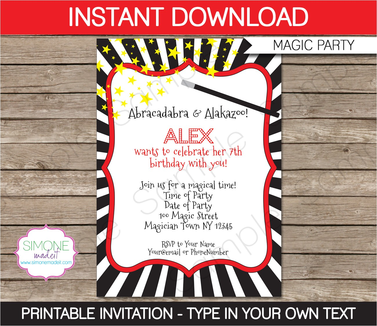 magic party invitation instant download