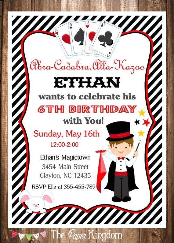 magician party invitation magic birthday