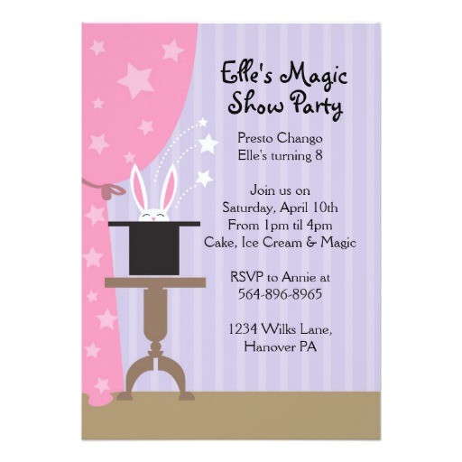 girls magic show birthday party invitations 161293787628126750