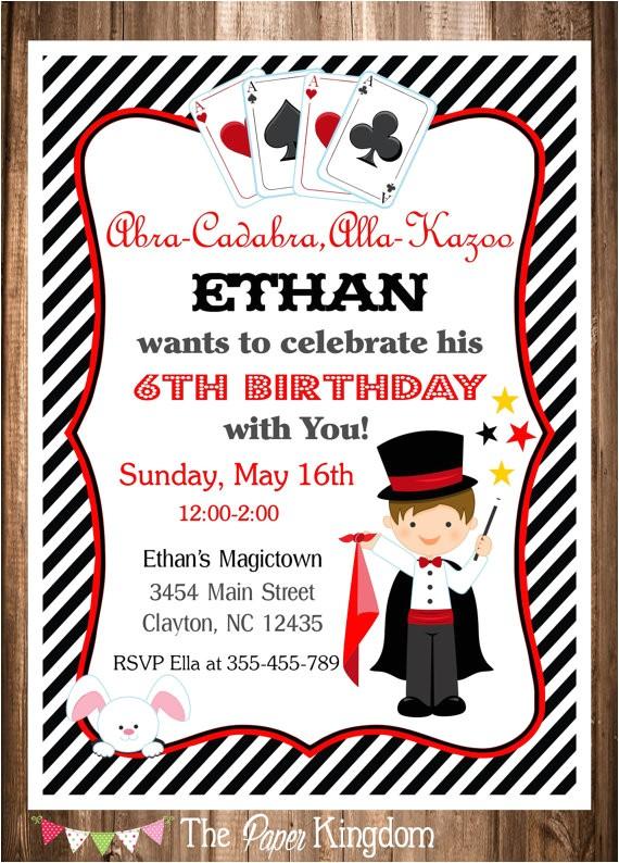 magician party invitation magic birthday invitation