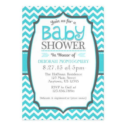 turquoise teal chevron magnetic baby shower invite magnetic invitations