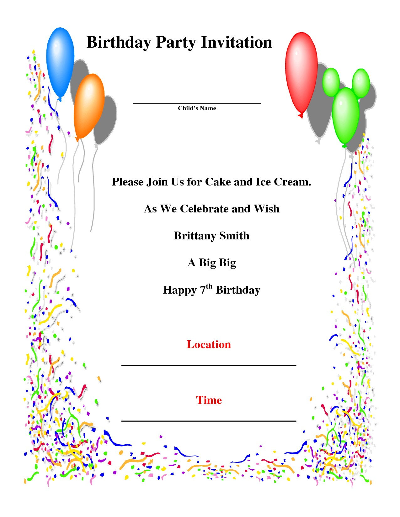 birthday party invitations template