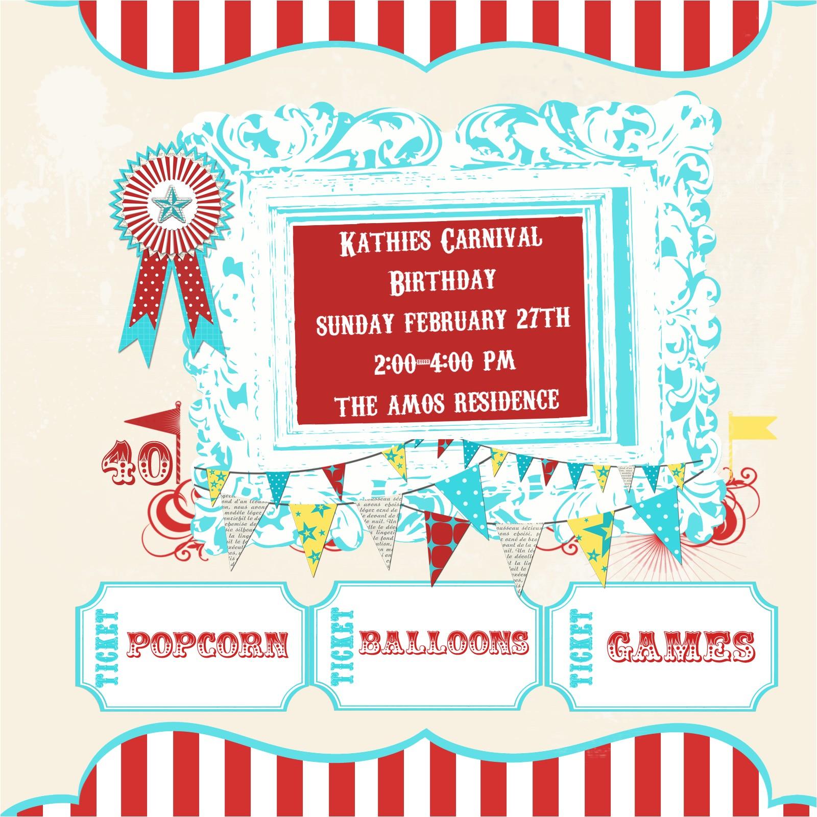 carnival birthday invitations walmart