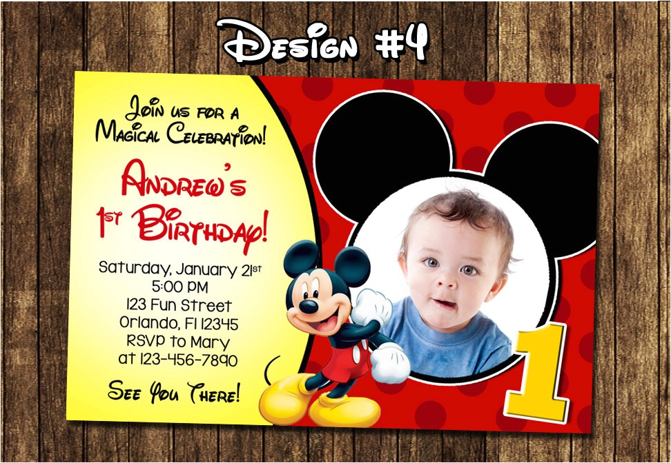 create own mickey mouse 1st birthday invitations free