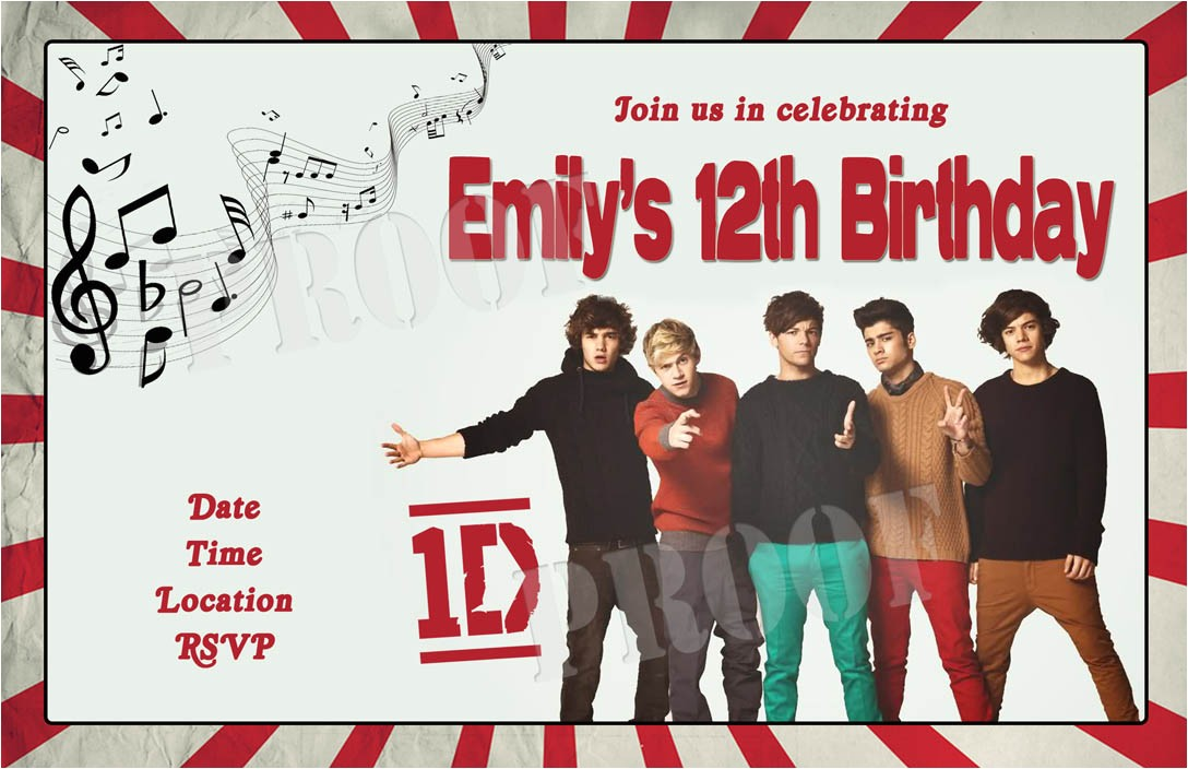 Make Your Own One Direction Birthday Invitations One Direction Party Invitations Cimvitation