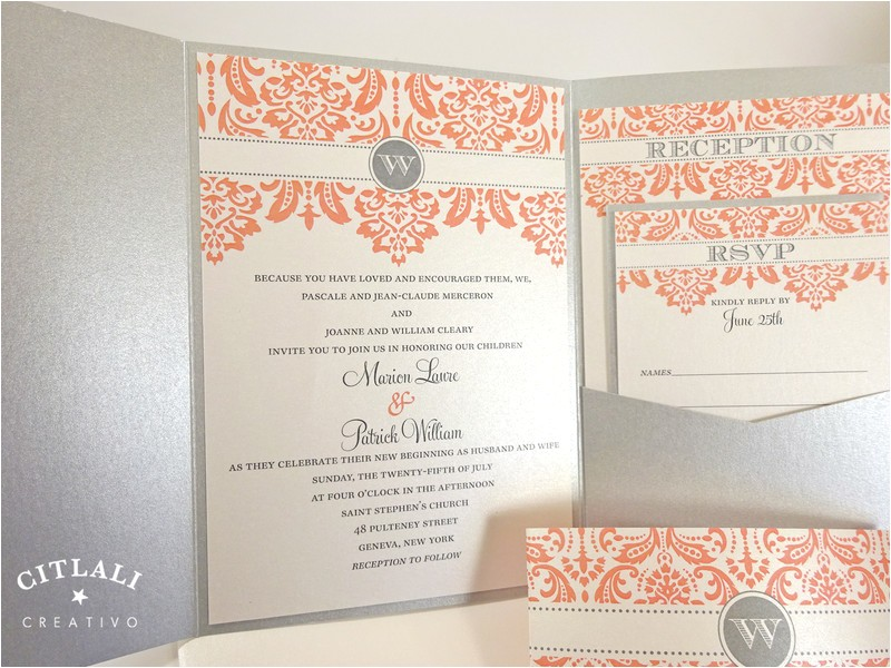 coral quinceanera invitations