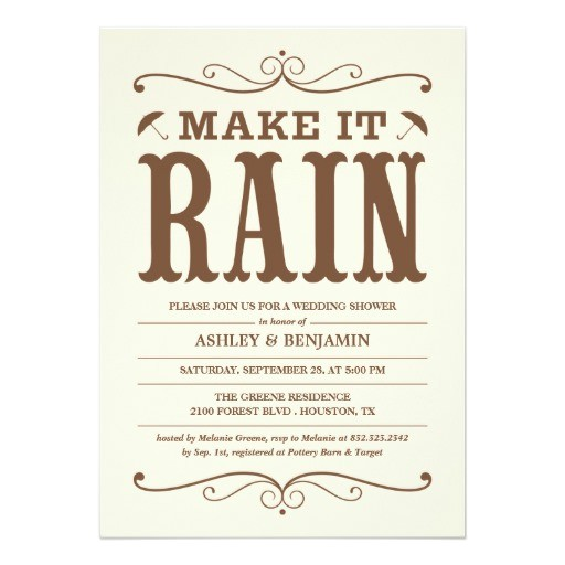 vintage make it rain wedding shower invitations