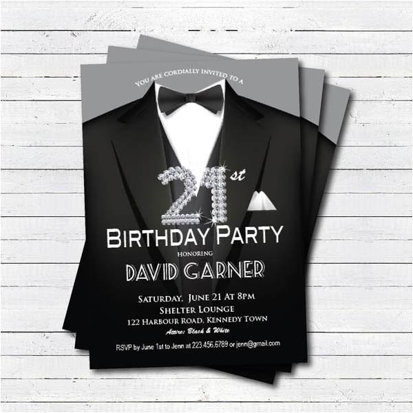 21st birthday invitation man black tie