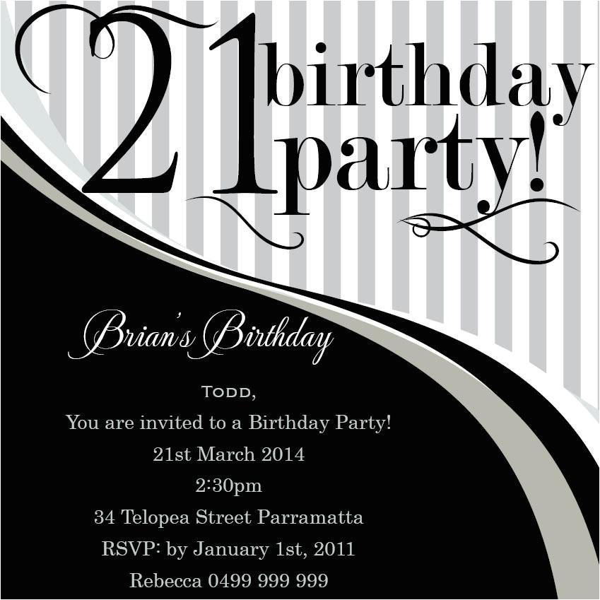 21st birthday invitation templates male