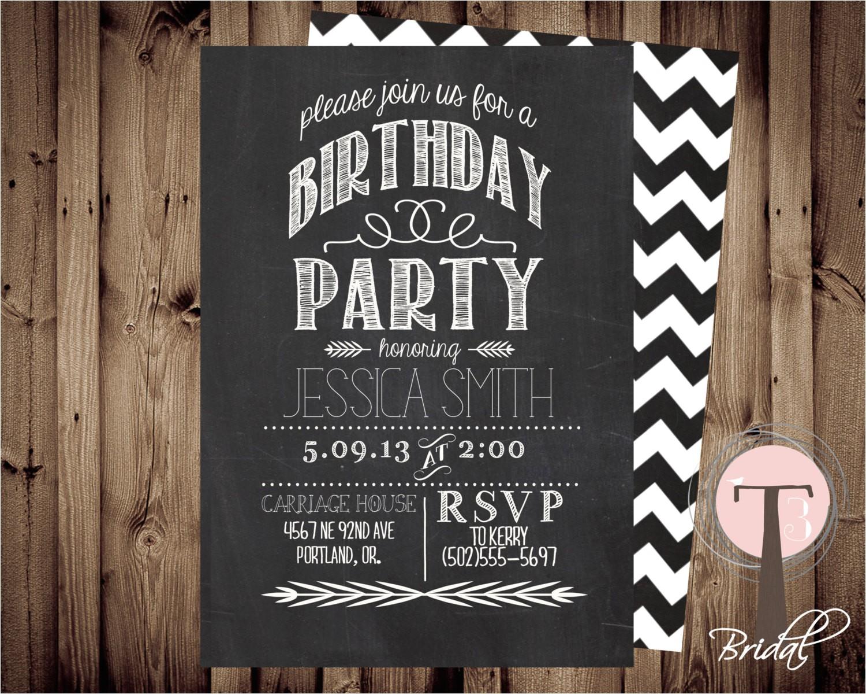 chalkboard birthday invitation birthday