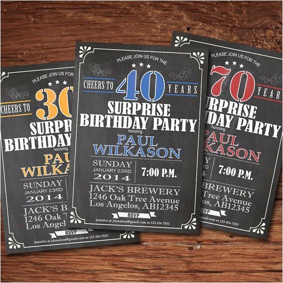 surprise birthday invitation man guy