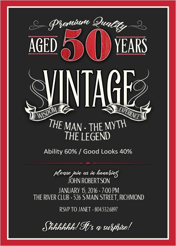 Male 50th Birthday Invitation Ideas 50th Birthday Invitation for Men Jpeg Printable Aged