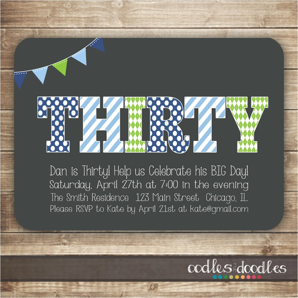 30th birthday invitation for men thirty