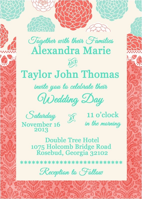coral and malibu blue wedding or bridal utm source=Pinterest&utm medium=PageTools&utm campaign=