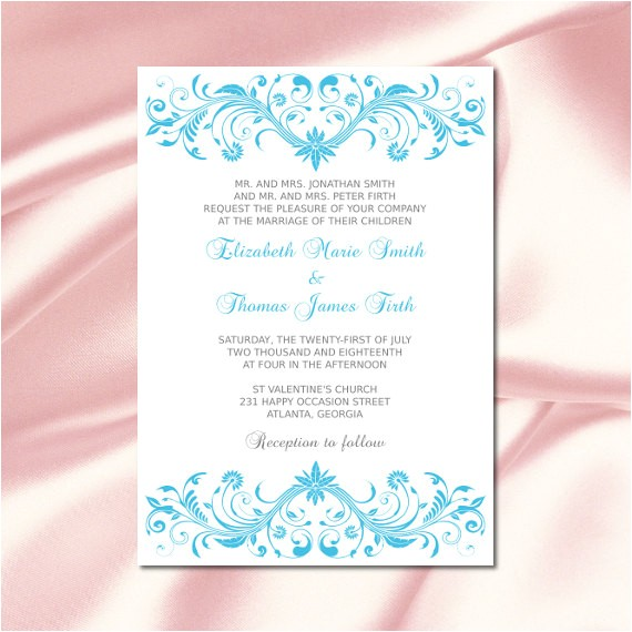 malibu blue wedding invitations template