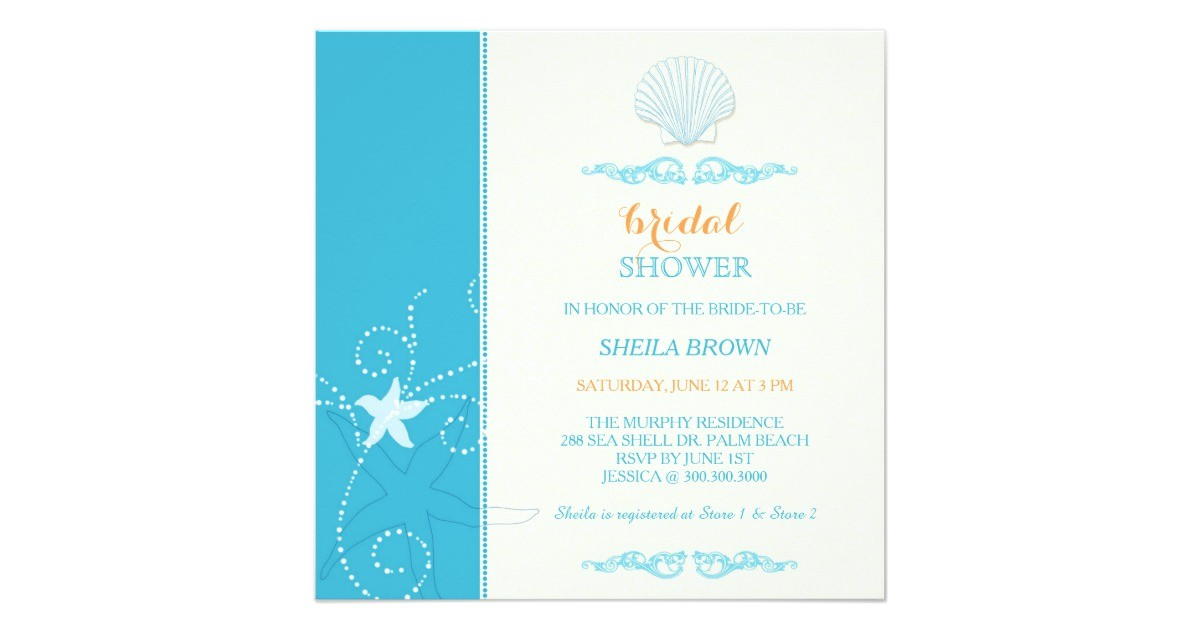 malibu blue ivory beach bridal shower card