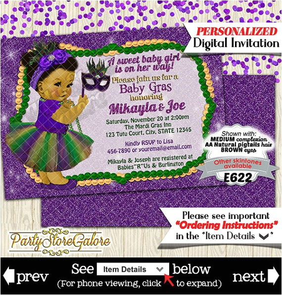 girls baby shower invitations mardi gras