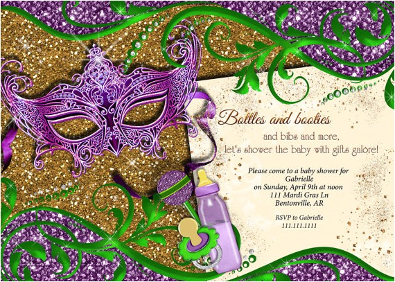Mardi Gras Baby Shower Invitations Mardi Gras Baby Shower Baby Shower Mardi Gras by