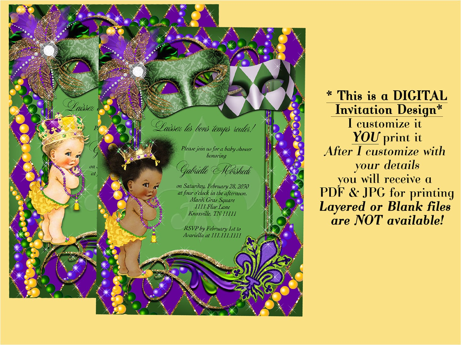 mardi gras baby shower invitation baby