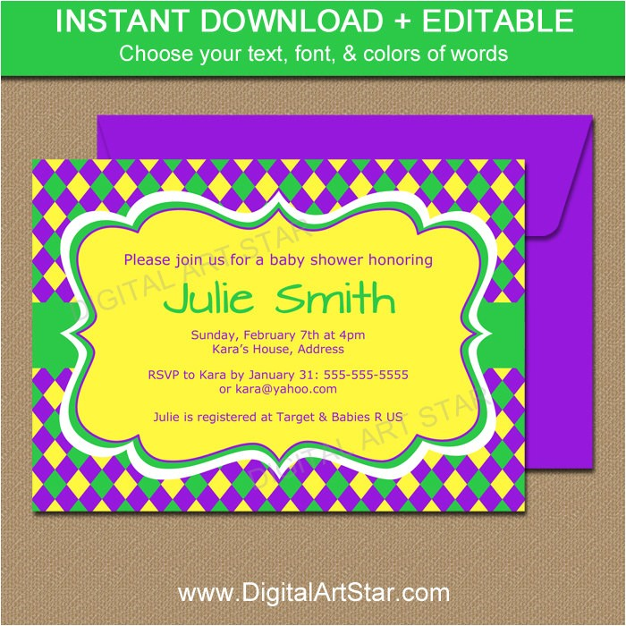 mardi gras baby shower invitation