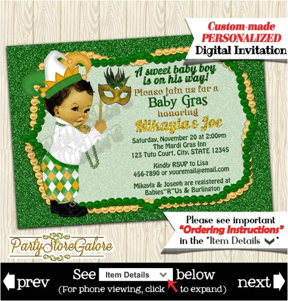 mardi gras baby shower invitations boys