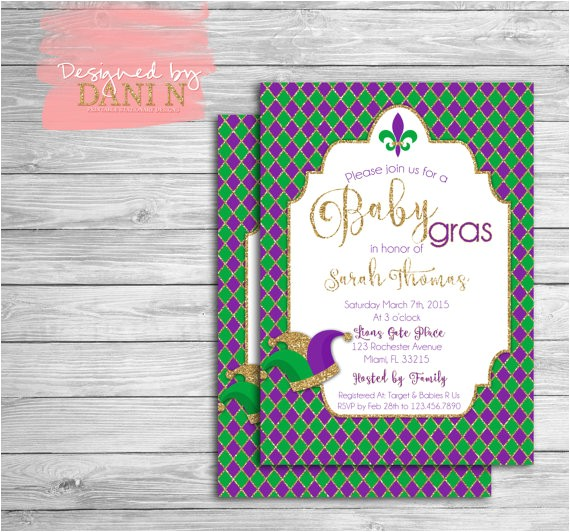 mardi gras invitation baby shower mardi