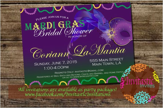 mardi gras theme bridal shower