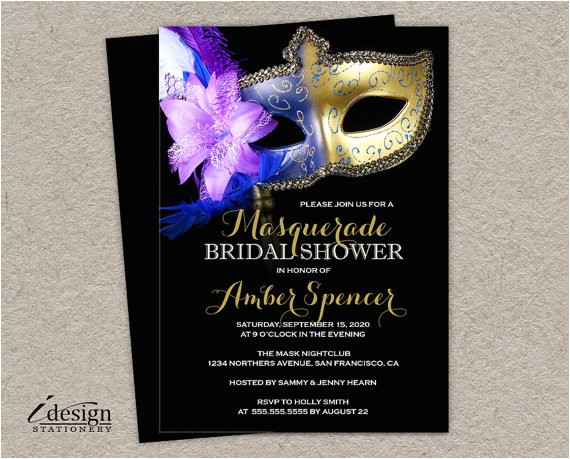 masquerade bridal shower invitation diy