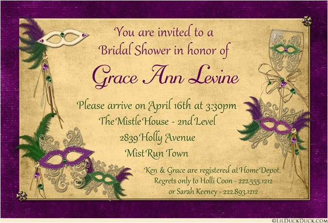 masquerade bridal shower invitation