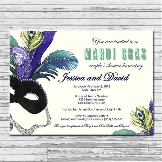 masquerade mardi gras bridal shower