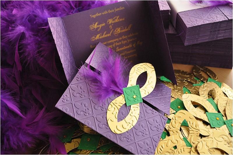 mardi gras invitations wedding