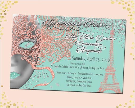 masquerade quinceanera invitation mardi