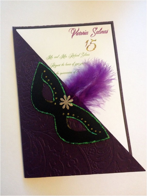 quinceanera mardi gras invitations